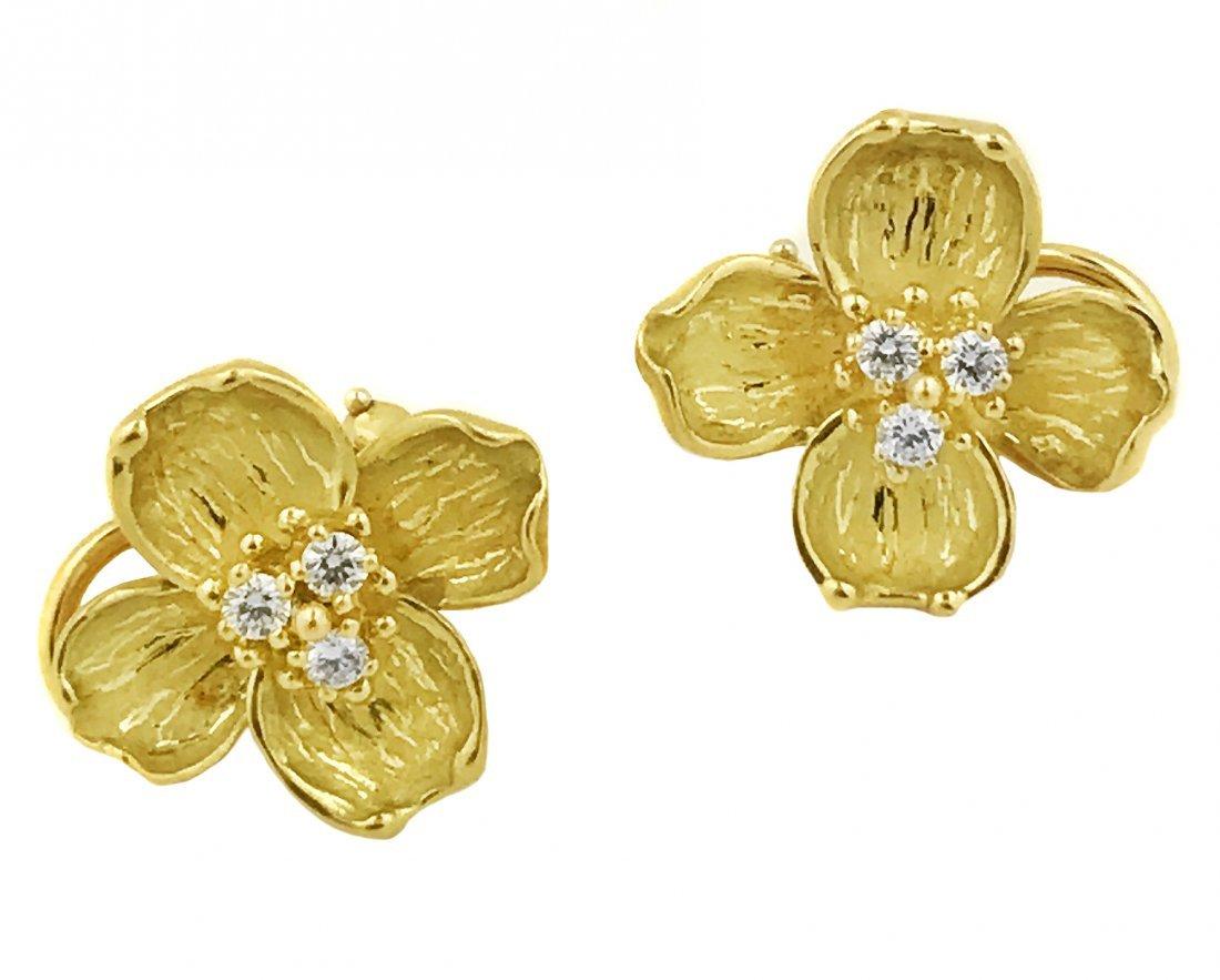 TIFFANY 18 Karat Gold and Diamond Ear Clips