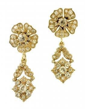 VICTORIAN SILVER & DIAMOND PENDANT-EARRINGS, CIRCA 1850