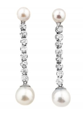 PAIR OF PLATINUM, CULTURED PEARL AND DIAMOND EARRINGS