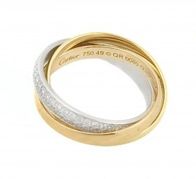 CARTIER 'TRINITY' DIAMOND AND GOLD RING