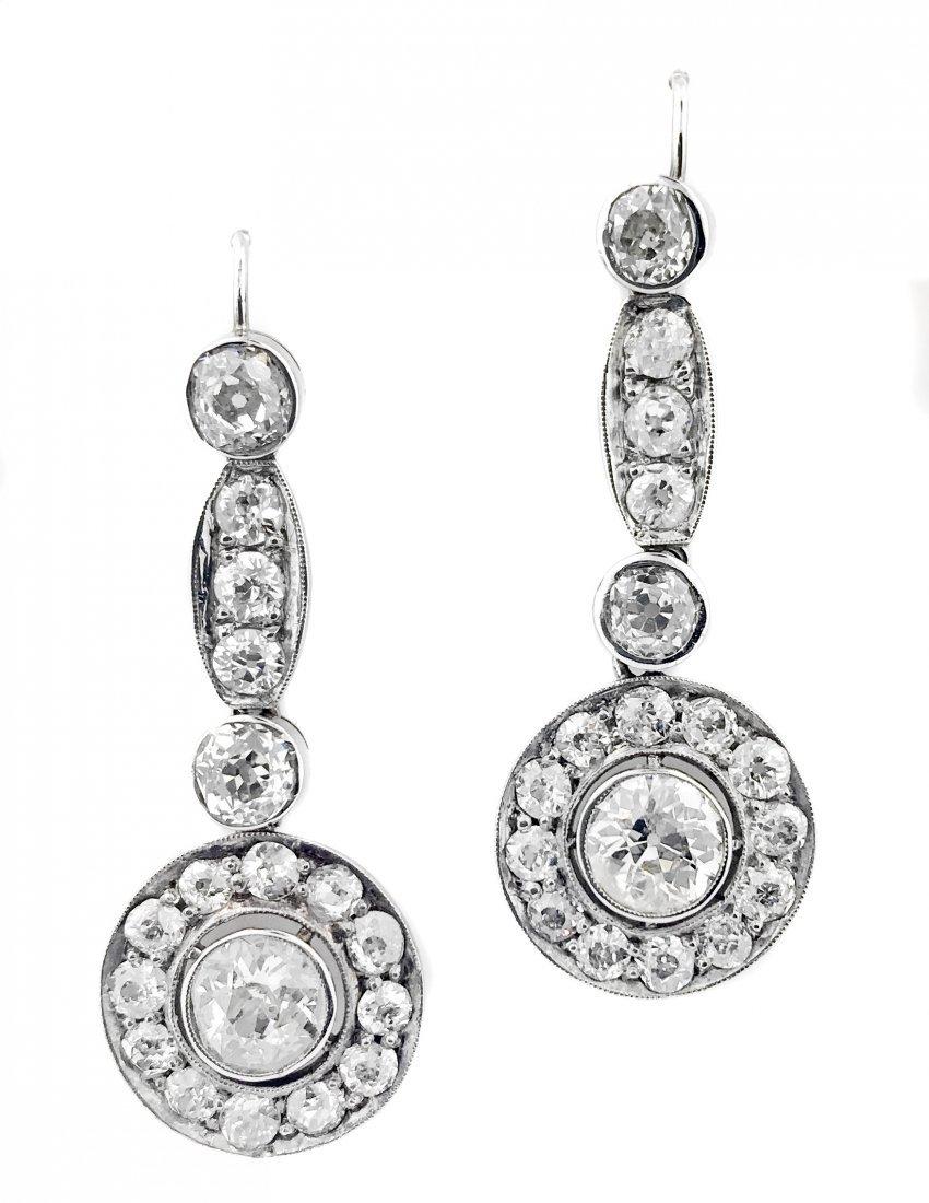 VICTORIAN SILVER ON GOLD & DIAMOND PENDANT-EARRINGS