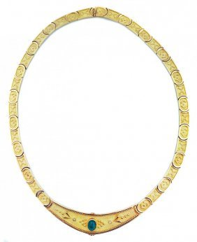 18 KARAT GOLD AND EMERALD NECKLACE