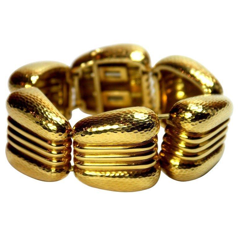 Andrew Clunn Gold Hammered Bracelet