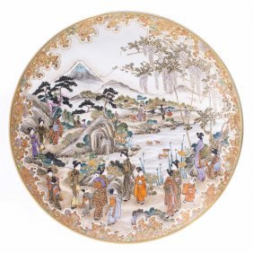 SATSUMA EARTHENWARE PLATE BY KINKOZAN, MEIJI PERIOD