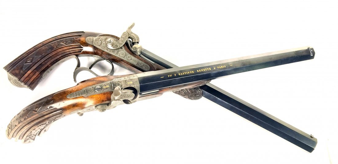 A FINE CASED PAIR OF FRENCH DUELING PISTOLS, CIRCA 1850