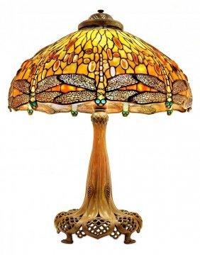 IMPORTANT AND RARE TIFFANY JEWELED DRAGONFLY LAMP