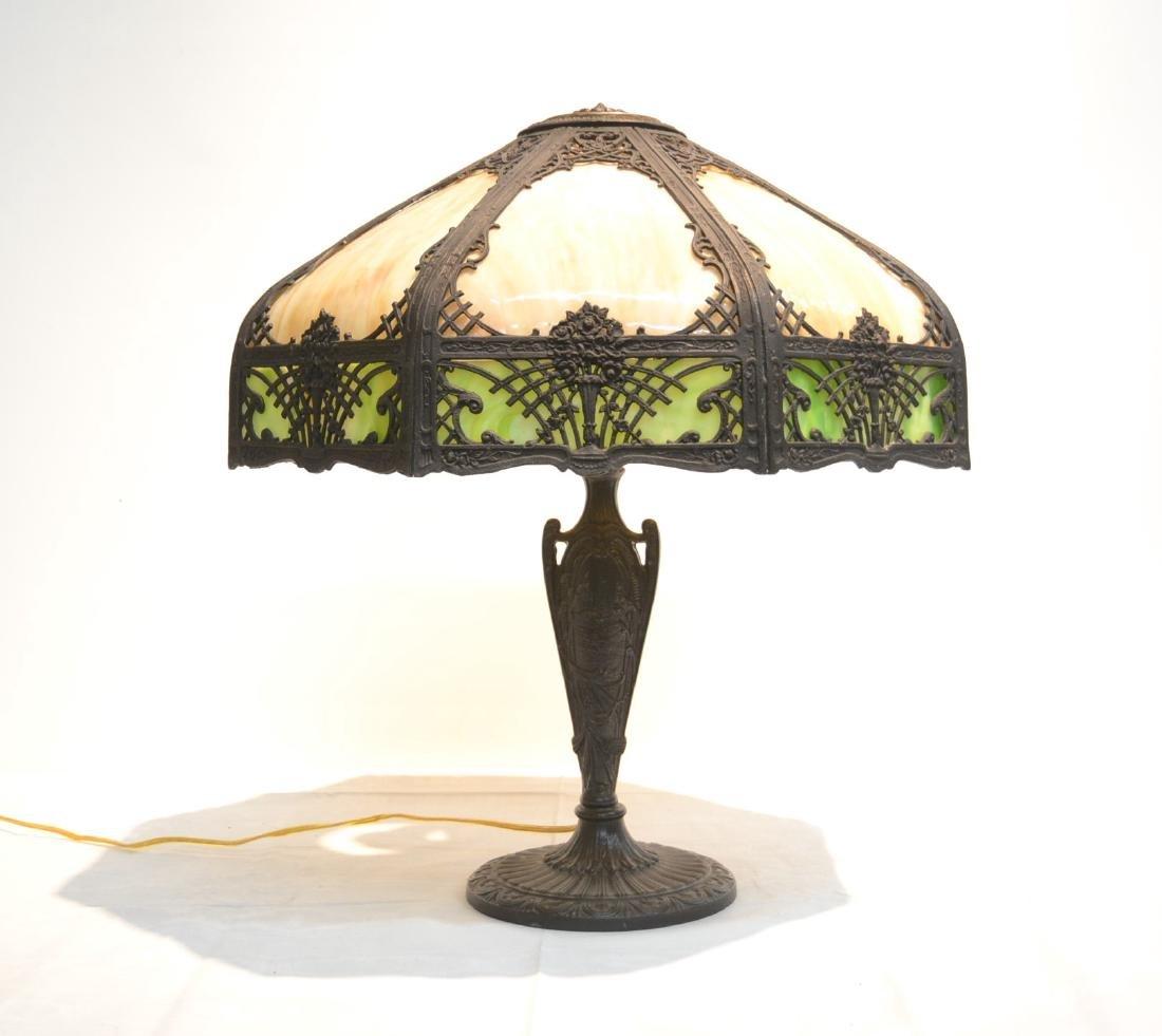 16 - PANEL CARAMEL & GREEN SLAG GLASS LAMP