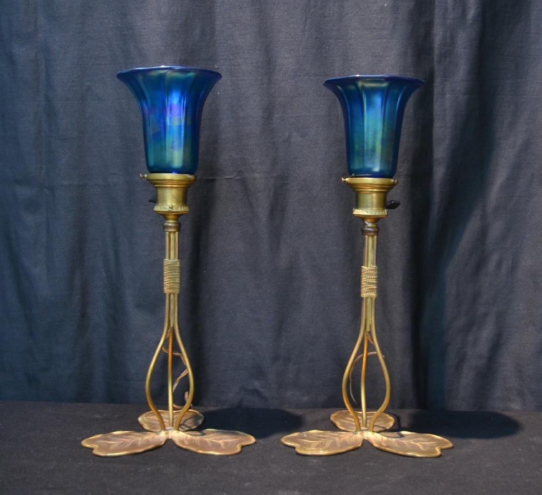 (Pr) BRONZE LILY PAD LAMPS WITH BLUE IRIDESCENT