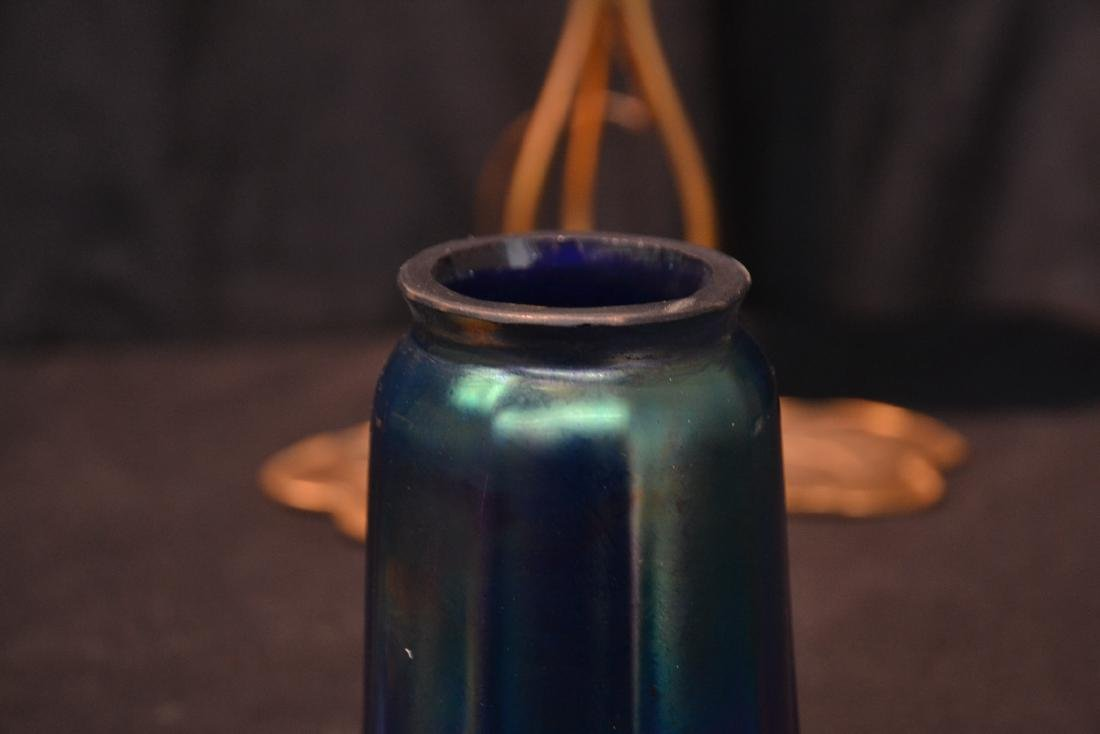 (Pr) BRONZE LILY PAD LAMPS WITH BLUE IRIDESCENT - 7