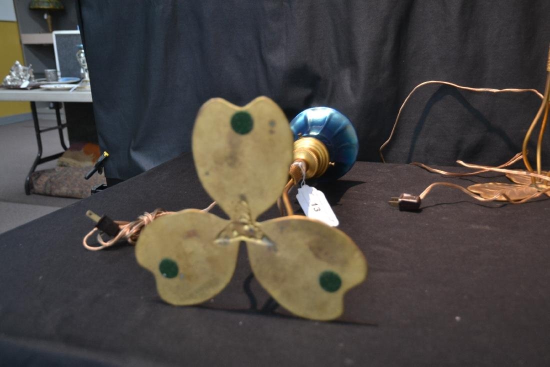 (Pr) BRONZE LILY PAD LAMPS WITH BLUE IRIDESCENT - 9