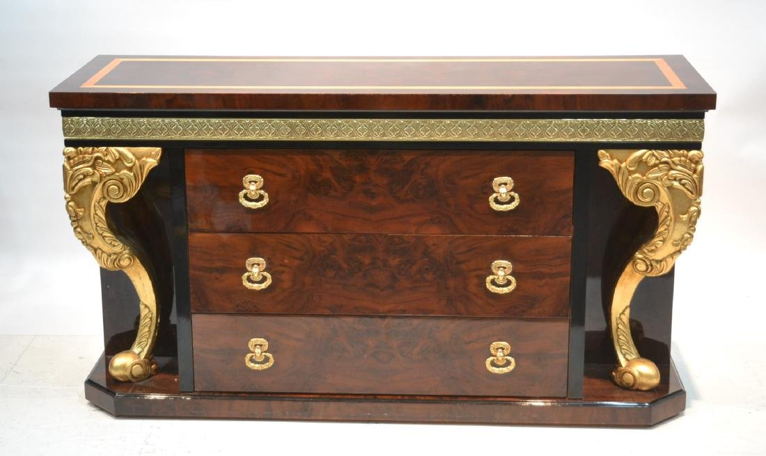 3-DRAWER LACQUERED SIDEBOARD WITH GILT CARVED