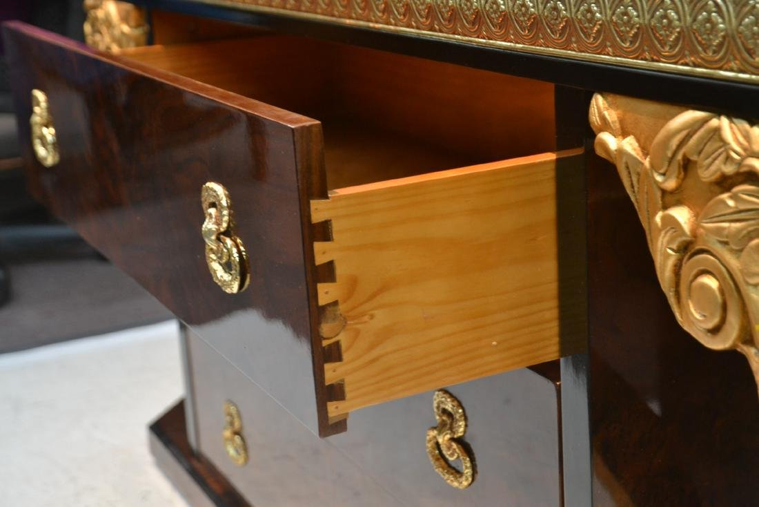 3-DRAWER LACQUERED SIDEBOARD WITH GILT CARVED - 5