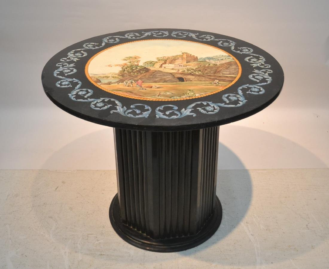 ROUND ITALIAN SCAGLIOLA INLAID MARBLE WITH