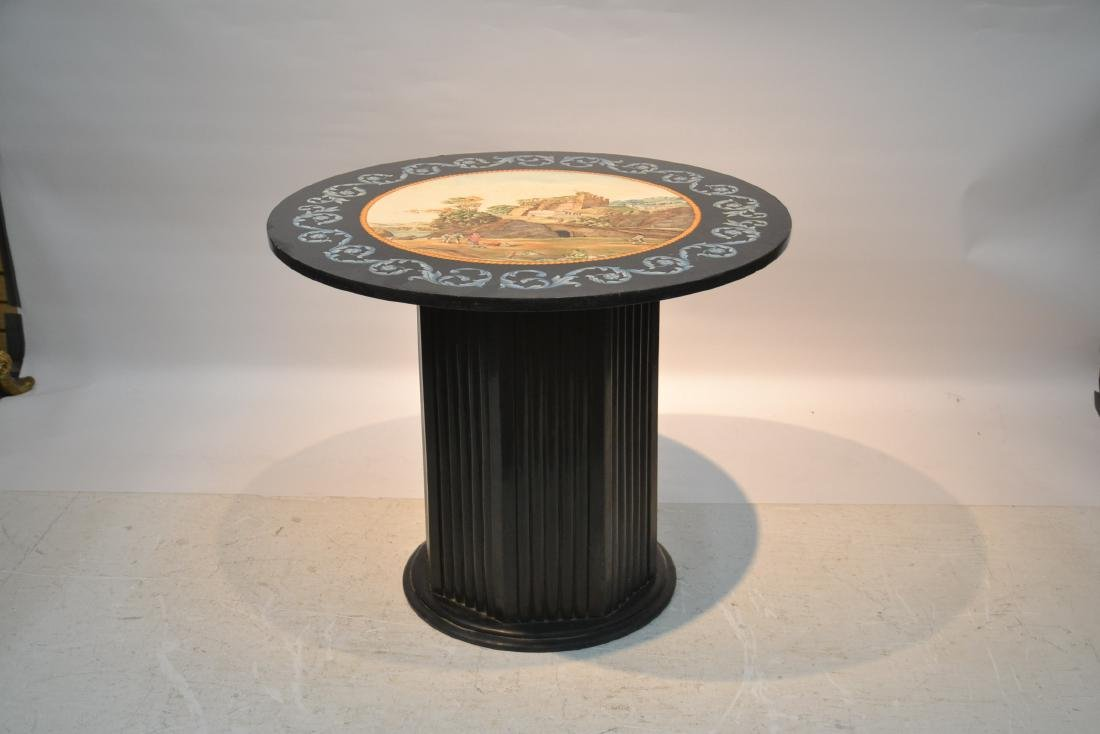 ROUND ITALIAN SCAGLIOLA INLAID MARBLE WITH - 2