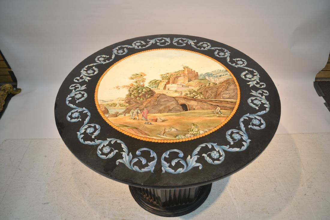 ROUND ITALIAN SCAGLIOLA INLAID MARBLE WITH - 3
