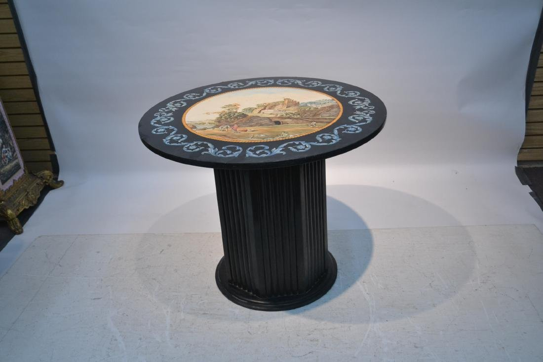 ROUND ITALIAN SCAGLIOLA INLAID MARBLE WITH - 6