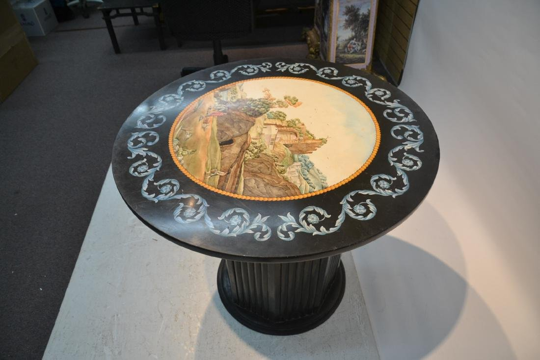ROUND ITALIAN SCAGLIOLA INLAID MARBLE WITH - 7