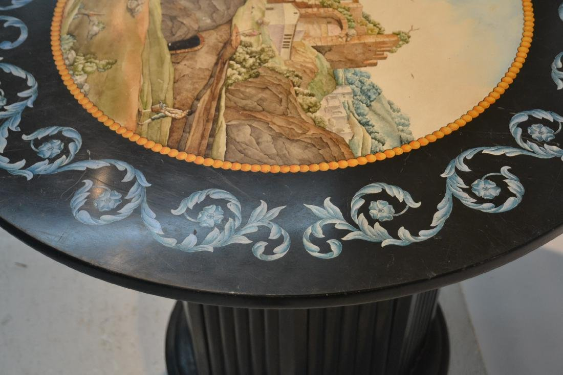 ROUND ITALIAN SCAGLIOLA INLAID MARBLE WITH - 8