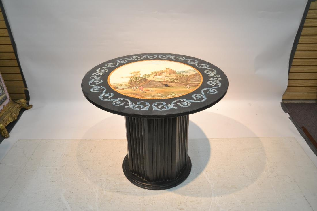ROUND ITALIAN SCAGLIOLA INLAID MARBLE WITH - 9