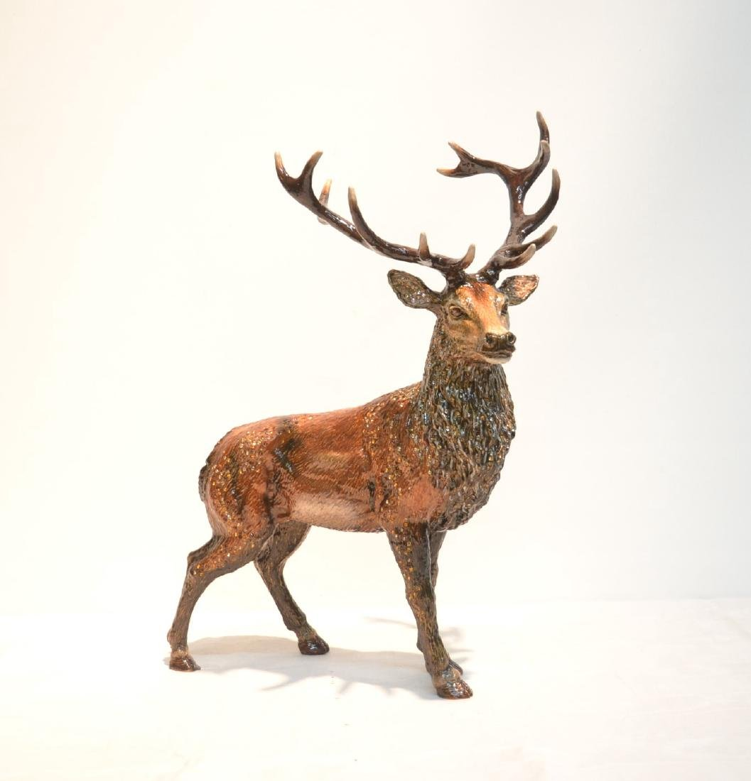 LARGE JAY STRONGWATER , ENAMELED HIGHLAND STAG
