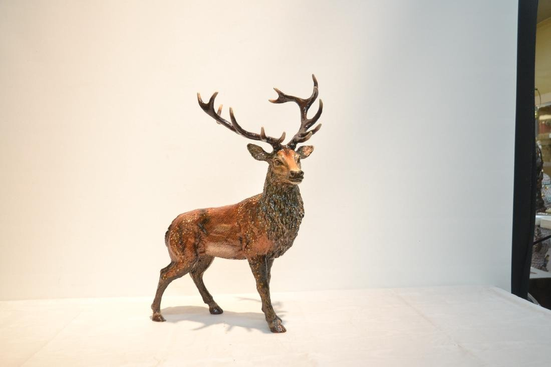 LARGE JAY STRONGWATER , ENAMELED HIGHLAND STAG - 2