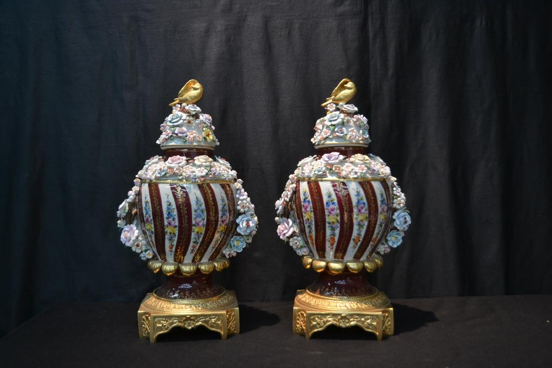 (Pr) DRESDEN STYLE POTPOURI URNS WITH ENCRUSTED - 2
