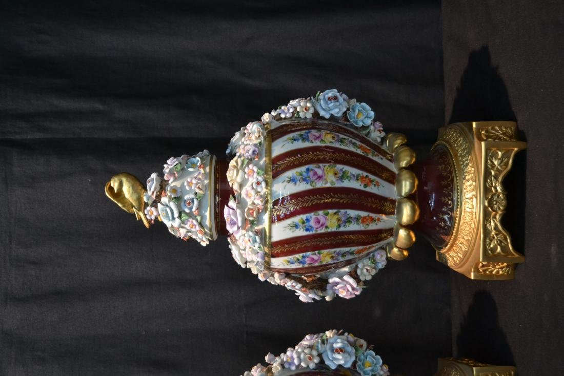 (Pr) DRESDEN STYLE POTPOURI URNS WITH ENCRUSTED - 3