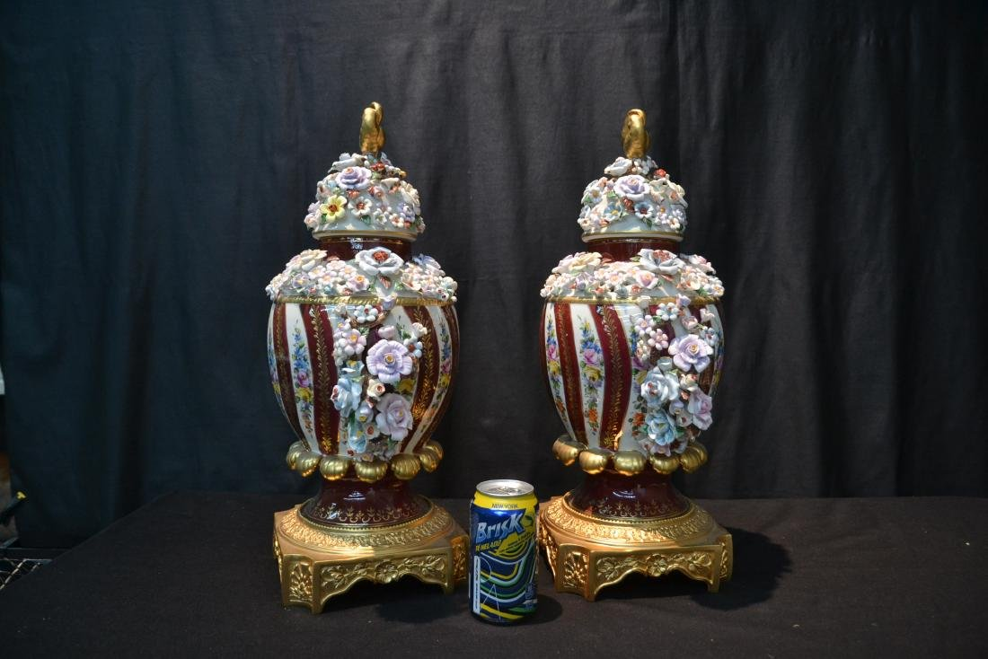 (Pr) DRESDEN STYLE POTPOURI URNS WITH ENCRUSTED - 6