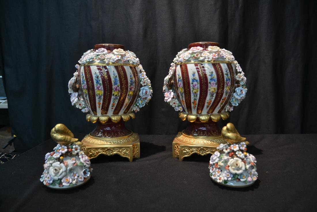 (Pr) DRESDEN STYLE POTPOURI URNS WITH ENCRUSTED - 7