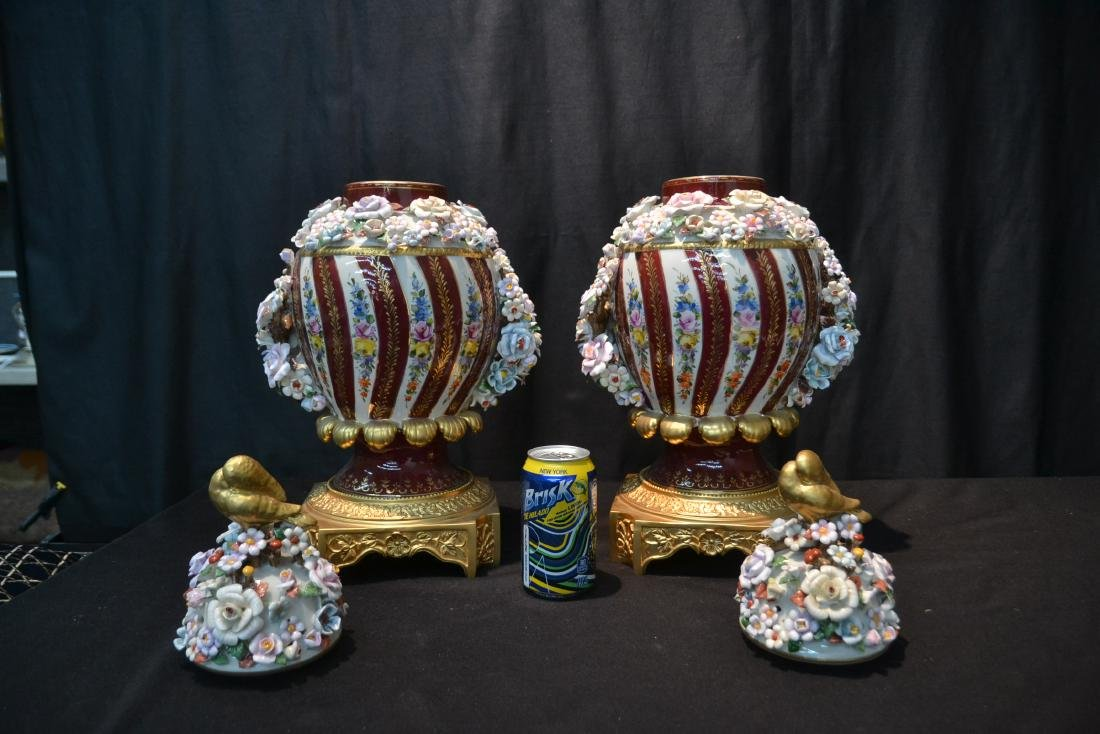 (Pr) DRESDEN STYLE POTPOURI URNS WITH ENCRUSTED - 8