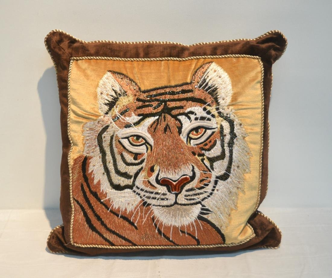 JAY STRONGWATER NATURAL COLOR VELVET TIGER PILLOW