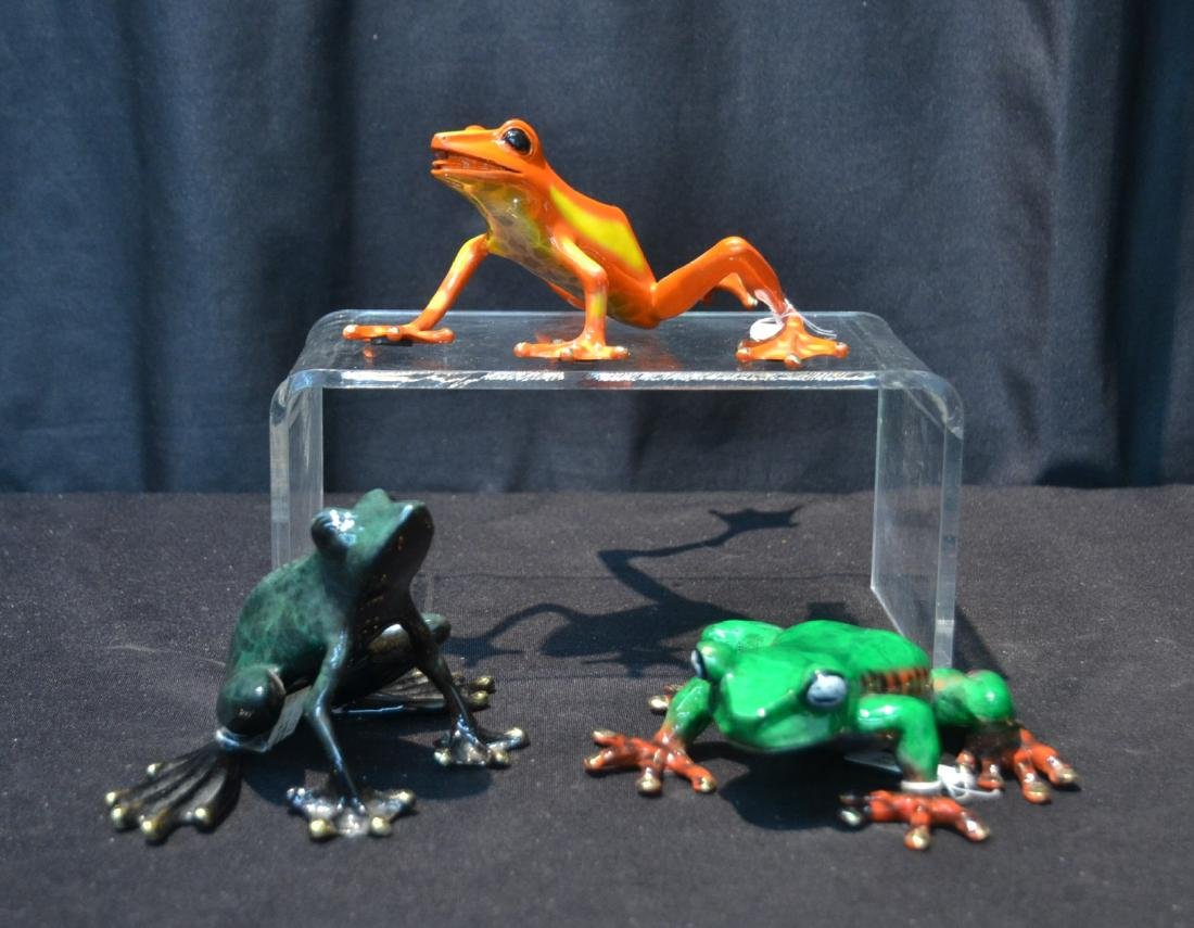 (3) BARRY STEIN , ENAMELED BRONZE FROGS