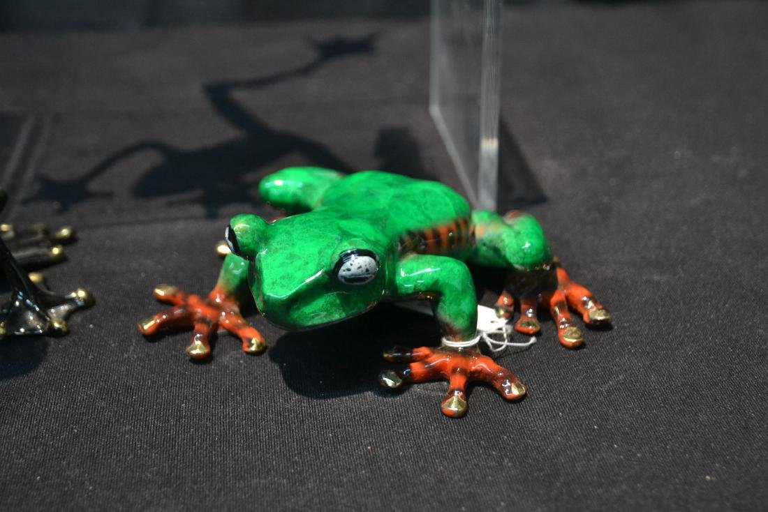 (3) BARRY STEIN , ENAMELED BRONZE FROGS - 3