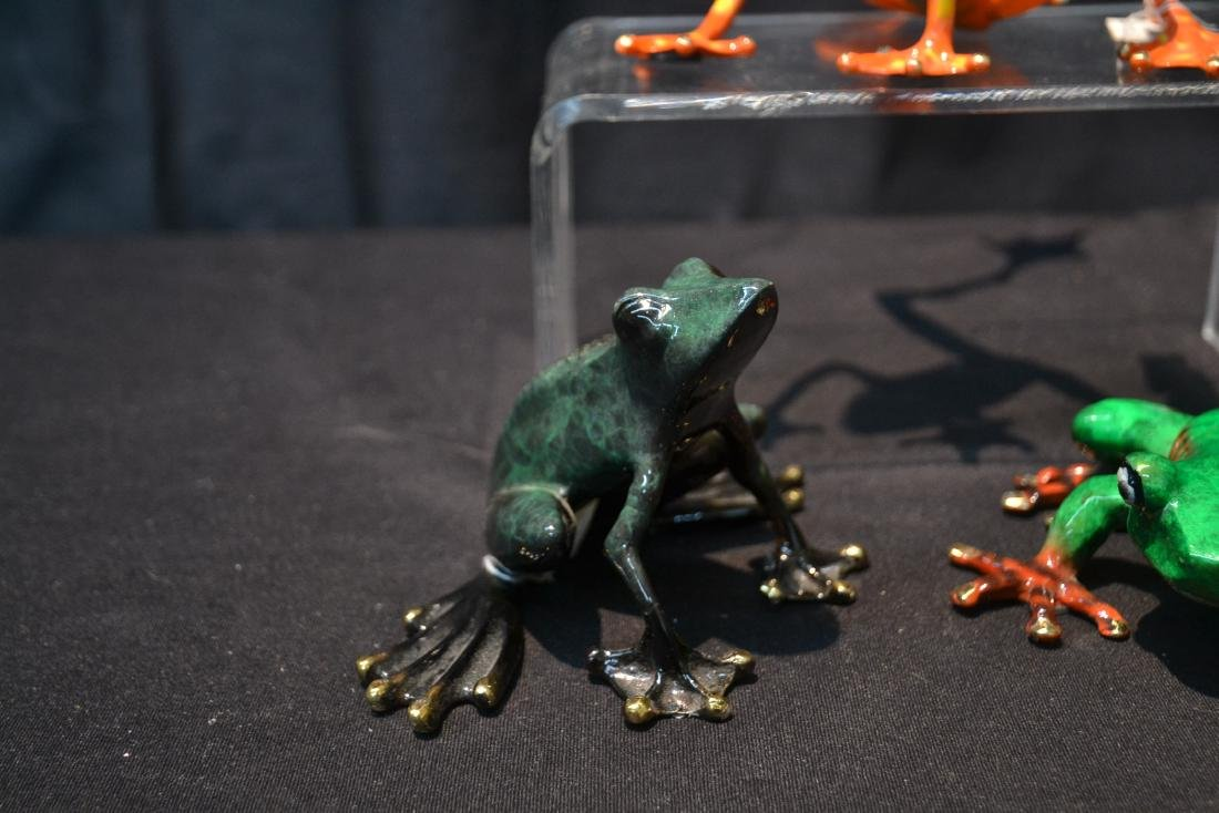 (3) BARRY STEIN , ENAMELED BRONZE FROGS - 4