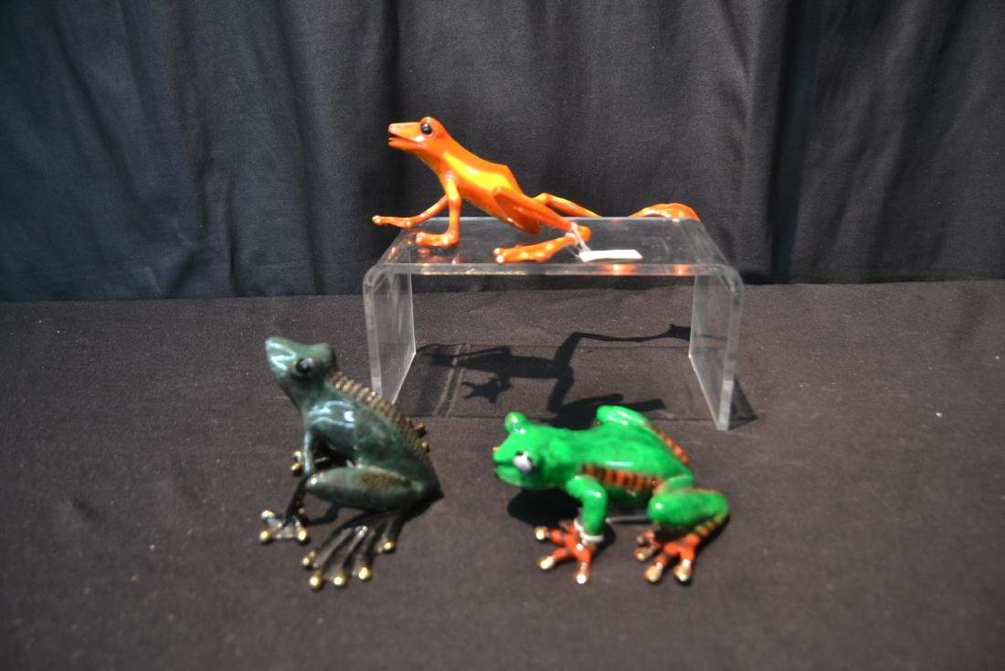 (3) BARRY STEIN , ENAMELED BRONZE FROGS - 6