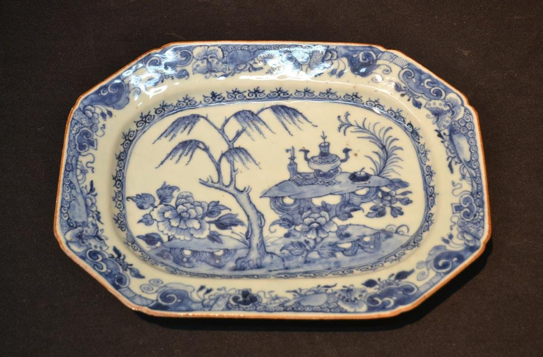 19thC CHINESE EXPORT BLUE & WHITE PLATTER