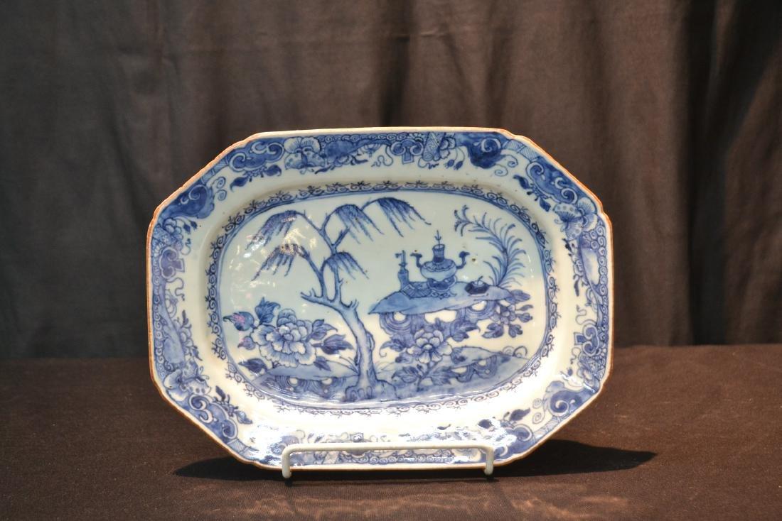 19thC CHINESE EXPORT BLUE & WHITE PLATTER - 7