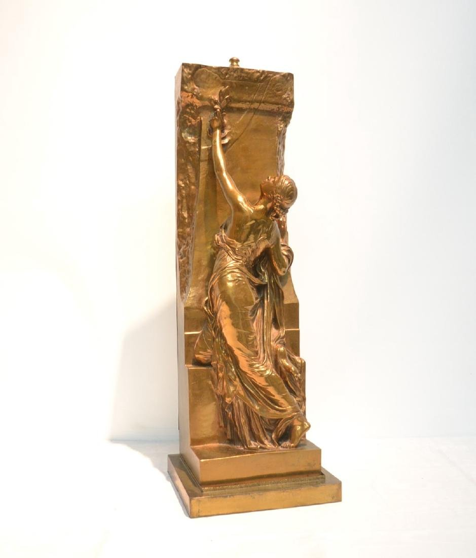 BARBEDIENNE BRONZE WOMAN LEANING ON WALL