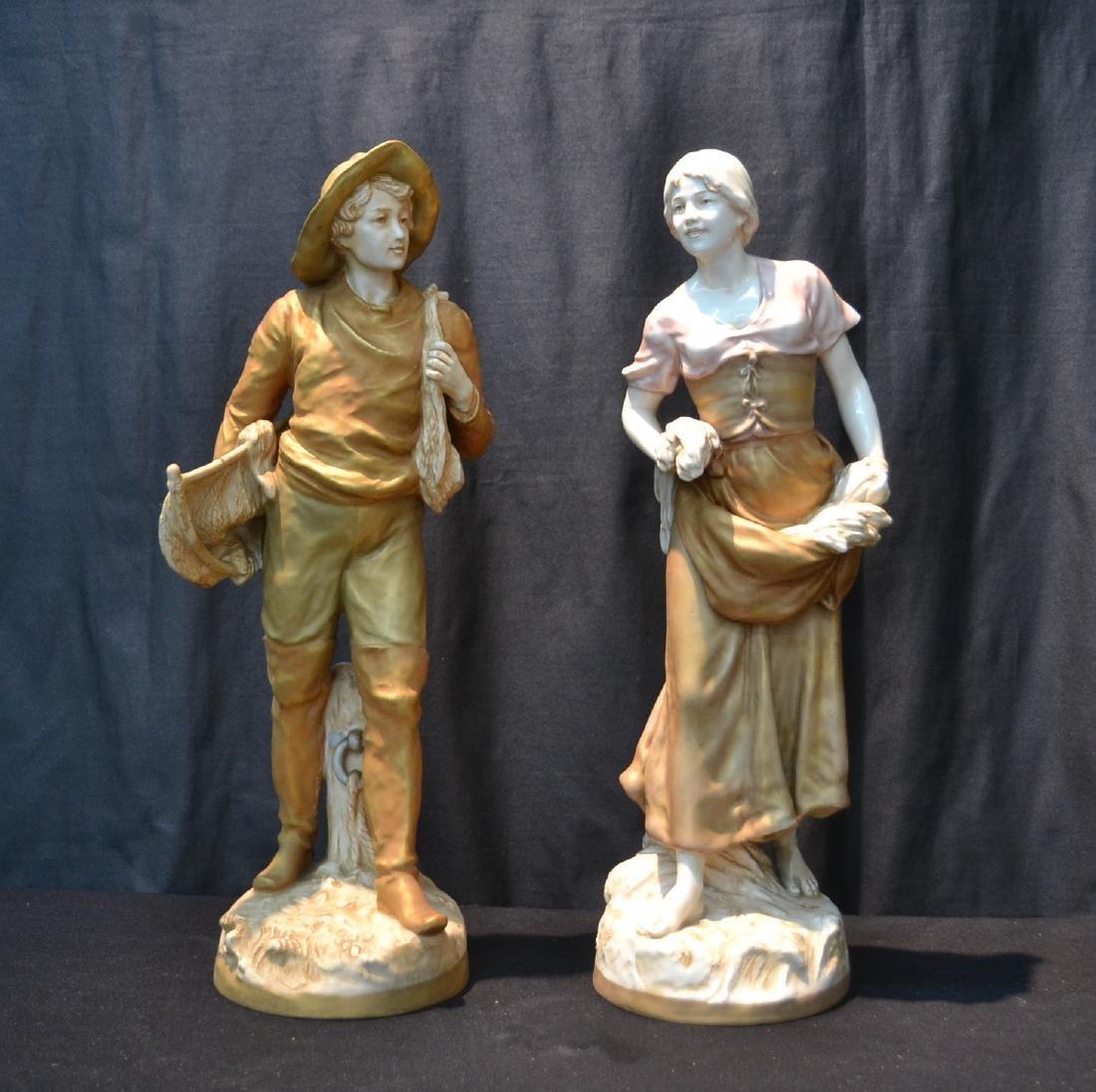 (Pr) LARGE ROYAL DUX FIGURES OF MAN & WOMAN