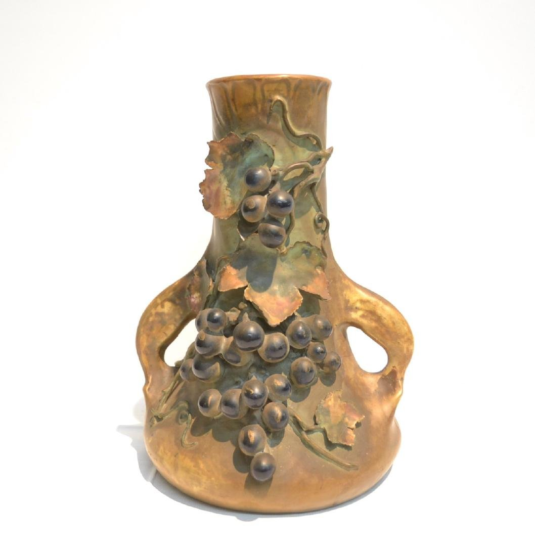 TWIN HANDLE AMPHORA VASE WITH RAISED GRAPES