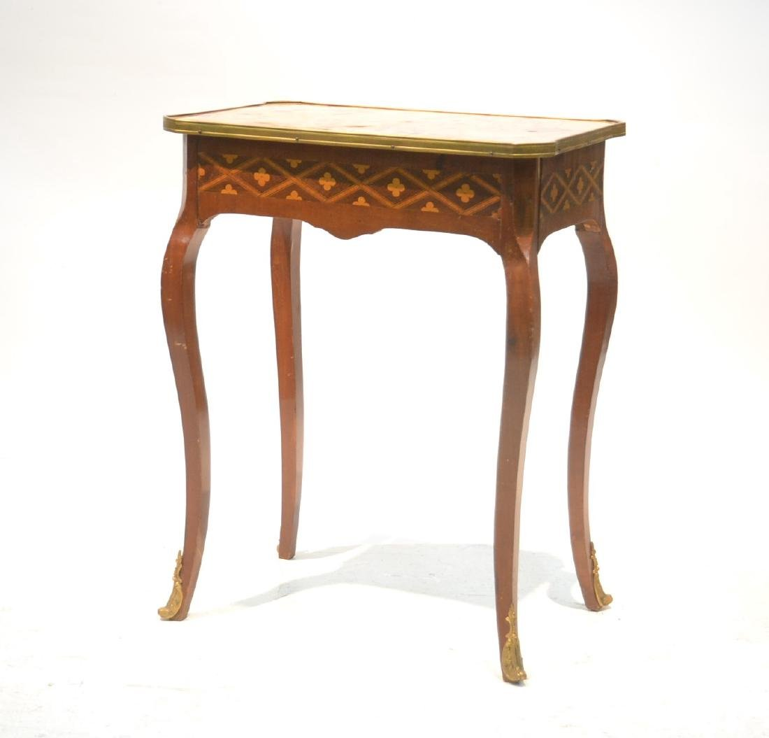 FRENCH PARQUETRY MARBLE TOP SIDE TABLE