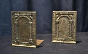 "BRONZE TIFFANY STUDIOS ""PEACOCK PORTAL"" BOOKENDS"