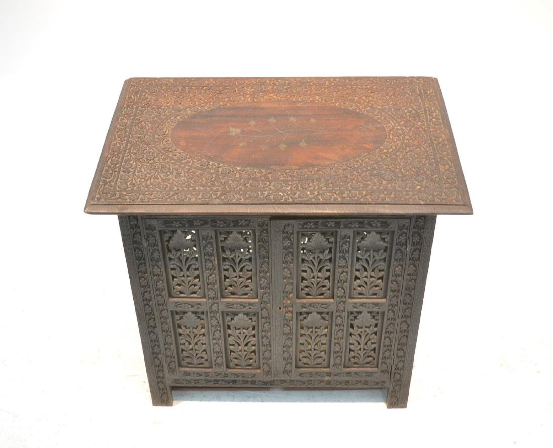 HAND CARVED ANGLO - INDIAN COLLAPSEABLE TABLE