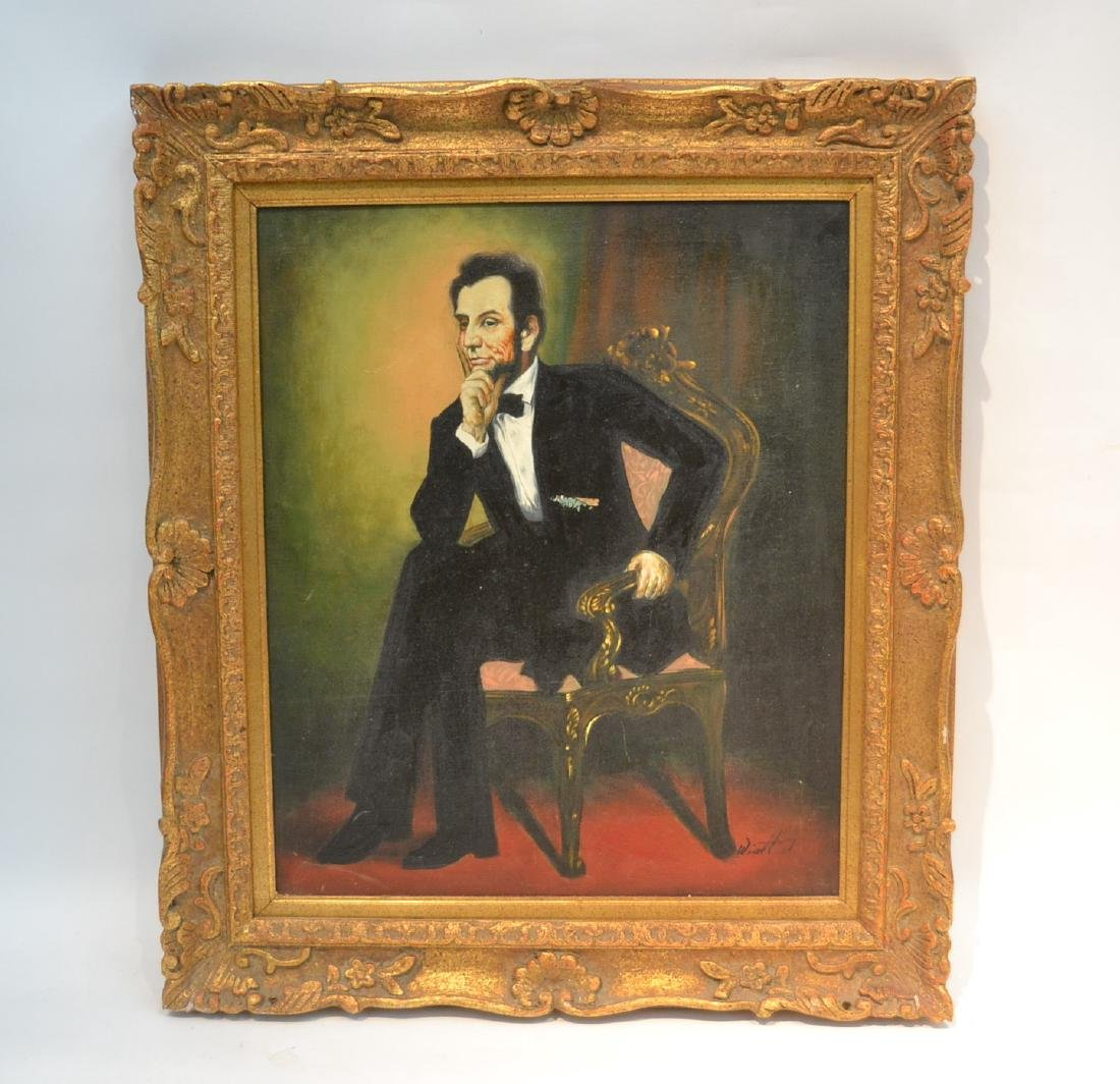 OIL ON CANVAS PORTRAIT OF ABRAHAM LINCOLN