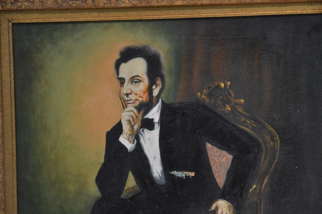 OIL ON CANVAS PORTRAIT OF ABRAHAM LINCOLN - 2