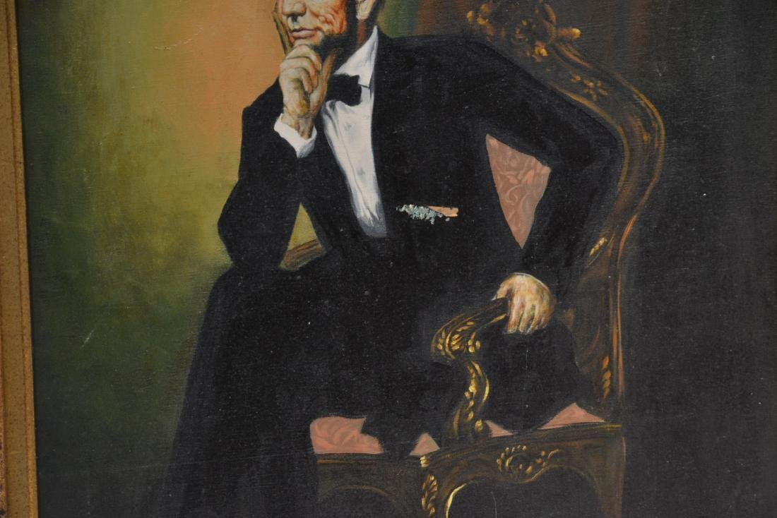 OIL ON CANVAS PORTRAIT OF ABRAHAM LINCOLN - 3