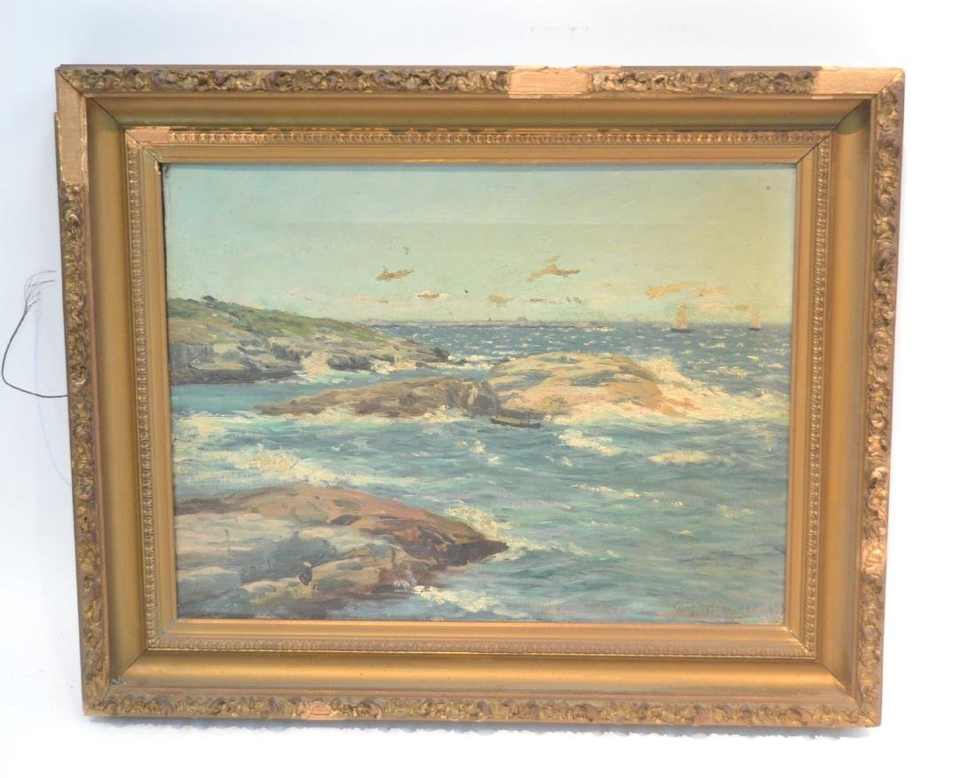 OIL ON CANVAS ROCKY SHORELINE