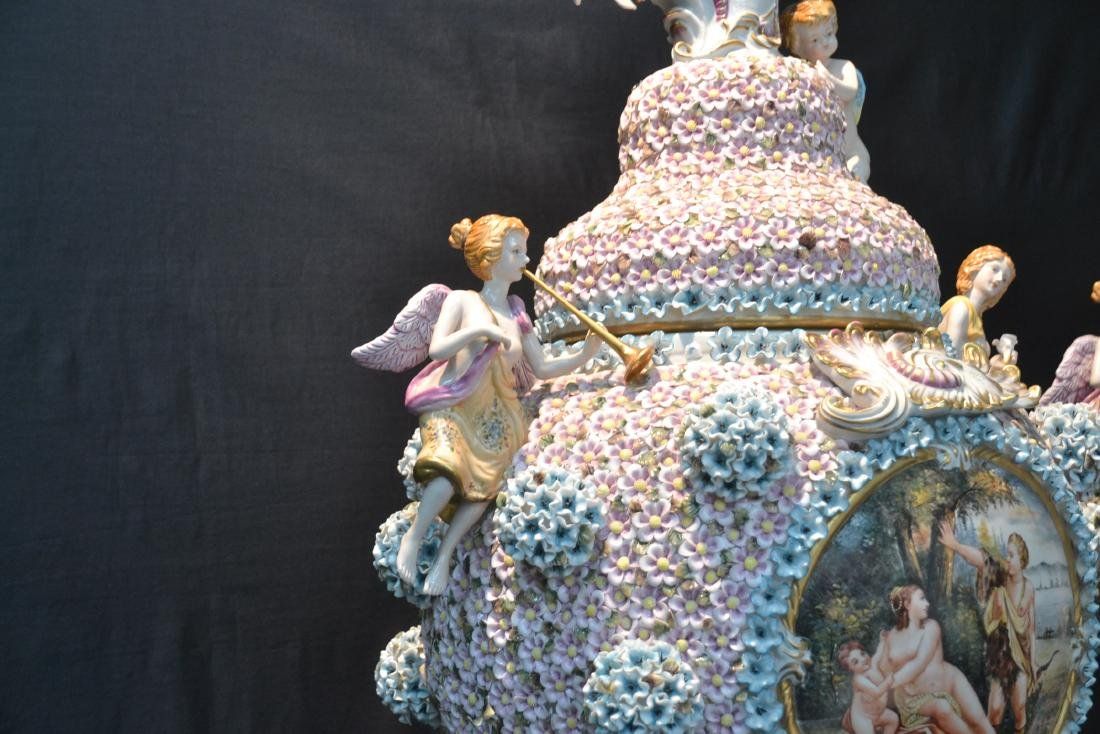 (Pr) PALATIAL SIZE COVERED URNS WITH ENCRUSTED - 8