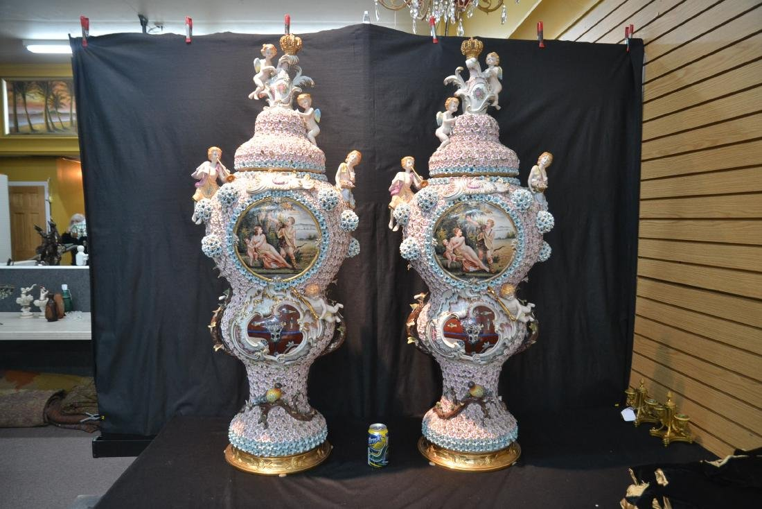 (Pr) PALATIAL SIZE COVERED URNS WITH ENCRUSTED - 9