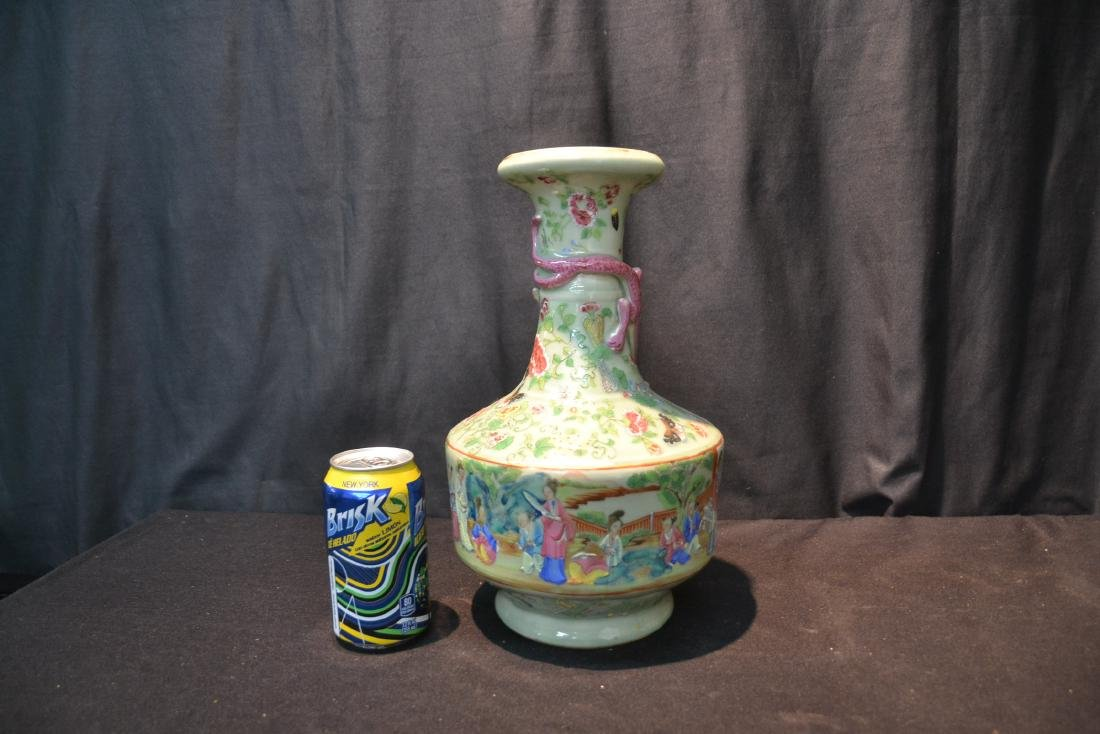 CHINESE CELEDON COLOR CHINESE VASE WITH - 8